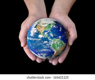 Man holding a globe in his hands. Elements of this image furnished by NASA