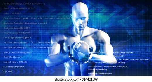 Man Holding Globe with Technology Industry as Concept