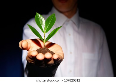 Man holding a green sprout at arm�s length