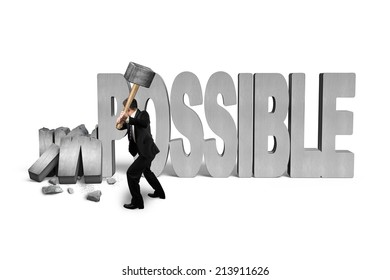 man holding hammer to crack impossible 3D concrete word isolated on white