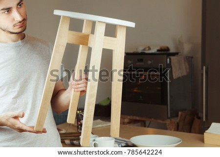 Prime Man Holding Hands Wooden Stool Carefully Stock Photo Edit Ocoug Best Dining Table And Chair Ideas Images Ocougorg