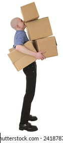 Man holding heap cardboard boxes on white
