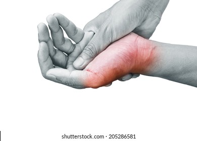 Man holding his hand - pain concept
