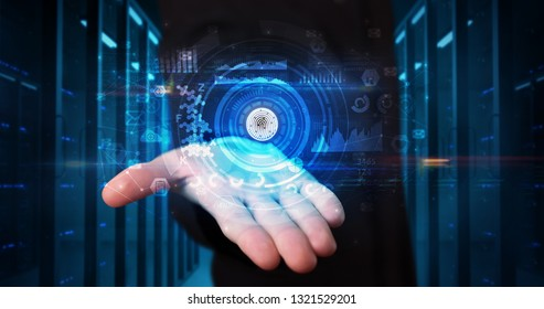 Man holding hologram projection displaying biometric security concept