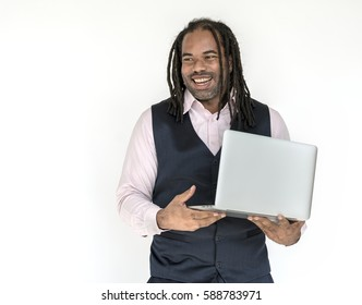A Man is holding Laptop