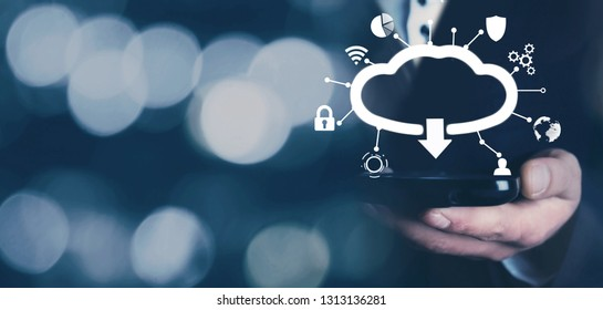 Man holding mobile smartphone. Cloud download concept