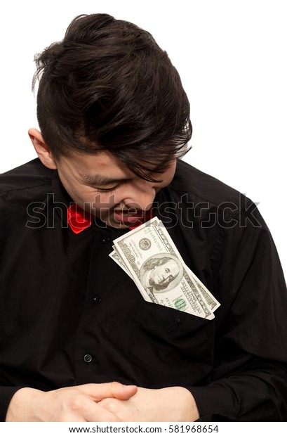 man holding money in his mouth