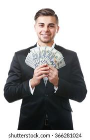 Man holding money isolated on white