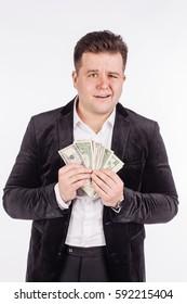 man holding a money isolated on white background