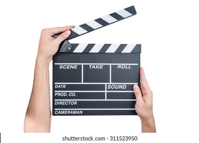 Man holding movie production clapper board isolated on white background