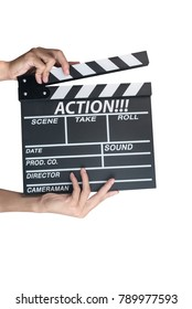 Man holding movie production clapper board isolated on white background with text Action