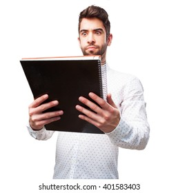 man holding a notebook