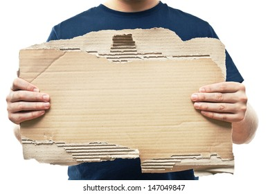 man holding old crumpled paper