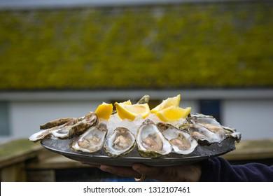 Man holding plate of oysters wiith lemon for dinner in scottish restaurant