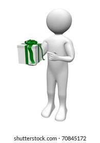 A man is holding and pointing a gift box. Present.