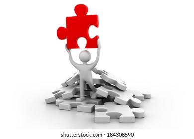 Man holding the puzzle.(business success  concept)