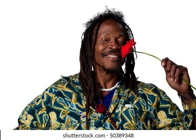 Man holding a red daisy flower, isolated image