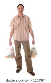 Man holding shopping bags