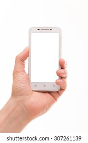 Man holding smart phone in his left hand. Smart phonw with blank black screen may be used as a present card for holiday.