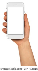 Man holding smartphone with blank screen. High detailed.