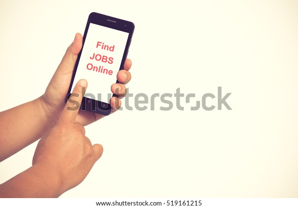 Man Holding Smartphone Find Jobs Online Stock Photo (Edit