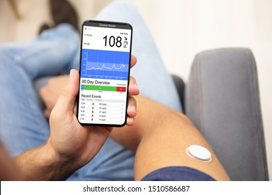 Man Holding Smartphone In Hand With Bad Level Of Blood Sugar On The Screen