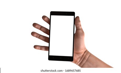 Man holding a smartphone with white screen
