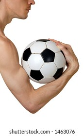 Man holding soccer ball in his arm sports and fitness concept isolated white background with clipping path
