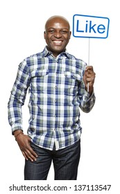 Man holding a social media sign smiling on white background