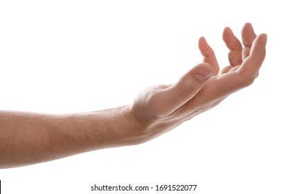 Man holding something against white background, closeup of hand