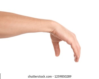 Man holding something in hand on white background, closeup