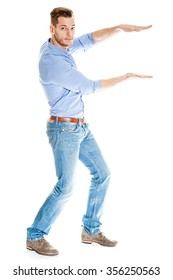 man holding something imaginary - isolated over a white background