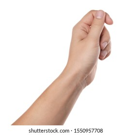 Man holding something on white background, closeup of hand