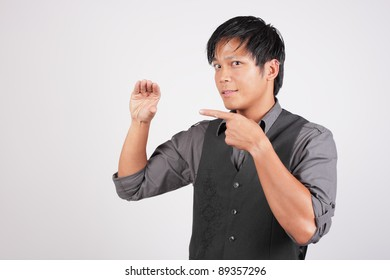 Man holding space for business card