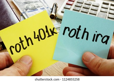 Man holding sticks with roth 401k vs roth ira. Retirement.
