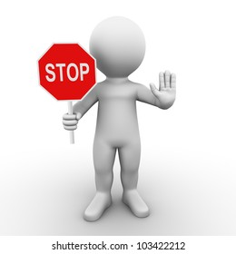 A man is holding a stop sign and asks you to wait