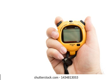 man holding stop watch to measure interval time for competition on white background with clipping path