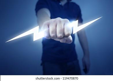 A man holding a stylized electric bolt.