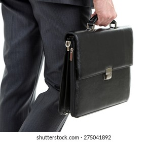 Man holding suitcase isolated on white