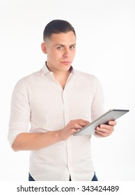 man holding a tablet