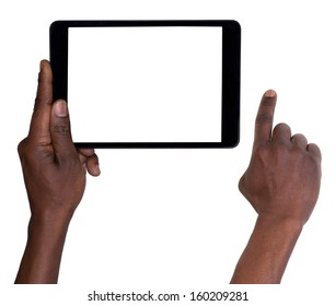 Man holding a tablet isolated on white background