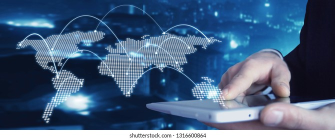 Man holding tablet with world map. Technology concept