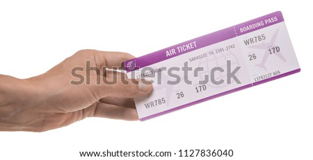 Man is holding ticket for the plane. Isolated on white background