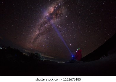 A man holding a torch light over milkyway background. Image is slightly soft and contains noise