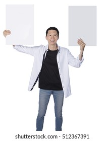 man holding two boards, representing having two choices, isolated white background, real photo