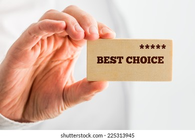 Man holding a wooden rectangle saying Best Choice with a line of five stars depicting good value, 5-star quality and popularity ranking.
