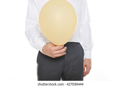 man holding yellow balloon isolated on white