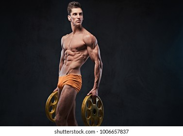 A man holds barbell weights.