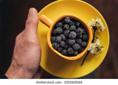Man holds cup of frozen aronia