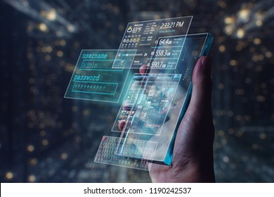 A man holds a futuristic phone in his hand, on which he appears news and weather informations Concept of: future, holography,  technology, internet connections